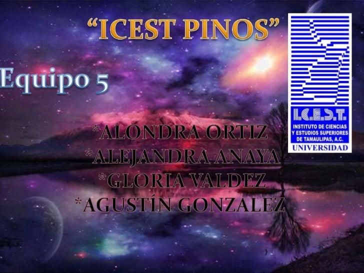 """ICEST PINOS""<br />Equipo 5<br />*Alondra Ortiz <br />*Alejandra Anaya<br />*Gloria Valdez<br />*Agustín Gonzalez <br />"