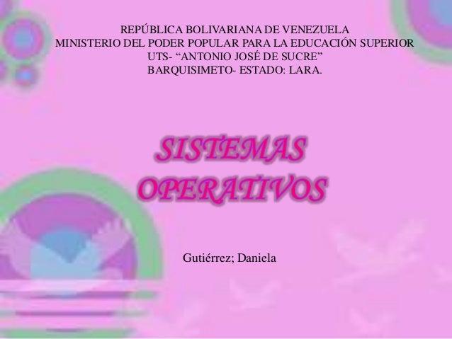 """REPÚBLICA BOLIVARIANA DE VENEZUELA MINISTERIO DEL PODER POPULAR PARA LA EDUCACIÓN SUPERIOR UTS- """"ANTONIO JOSÉ DE SUCRE"""" BA..."""
