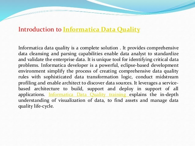 Informatica Data Quality Training