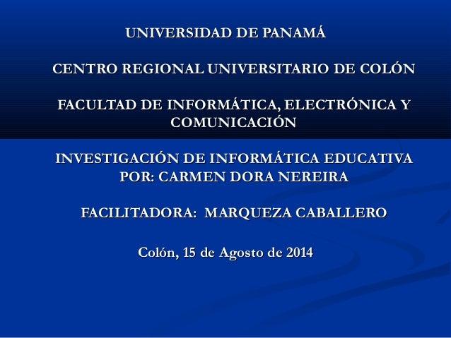 UNIVERSIDAD DE PANAMÁUNIVERSIDAD DE PANAMÁ CENTRO REGIONAL UNIVERSITARIO DE COLÓNCENTRO REGIONAL UNIVERSITARIO DE COLÓN FA...