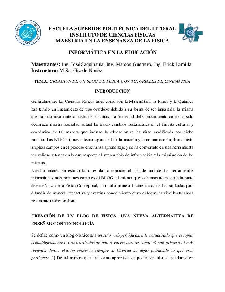 ESCUELA SUPERIOR POLITÉCNICA DEL LITORAL                INSTITUTO DE CIENCIAS FÍSICAS            MAESTRIA EN LA ENSEÑANZA ...
