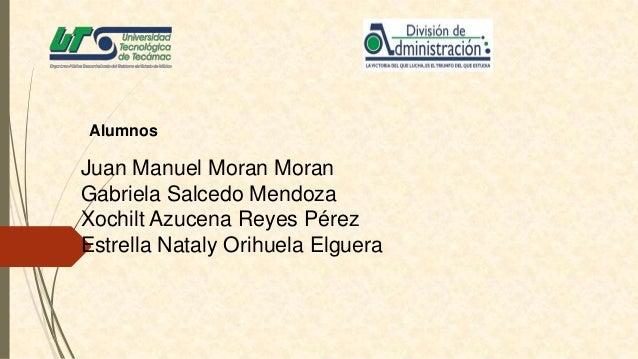 Alumnos  Juan Manuel Moran Moran Gabriela Salcedo Mendoza Xochilt Azucena Reyes Pérez Estrella Nataly Orihuela Elguera