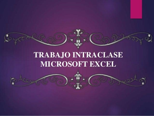 TRABAJO INTRACLASE MICROSOFT EXCEL