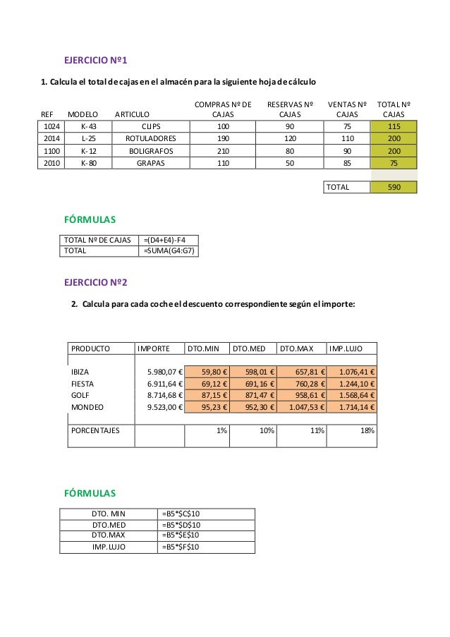 EJERCICIO Nº1 1. Calcula el total de cajas en el almacén para la siguiente hoja de cálculo COMPRAS Nº DE CAJAS RESERVAS Nº...