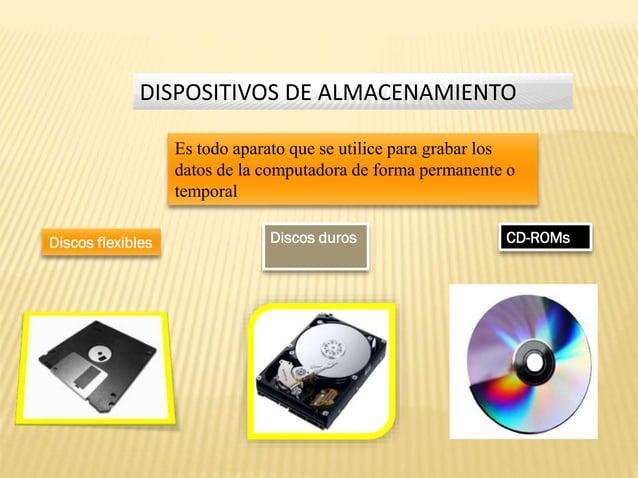 DISPOSITIVOS DE ALMACENAMIENTO Es todo aparato que se utilice para grabar los datos de la computadora de forma permanente ...