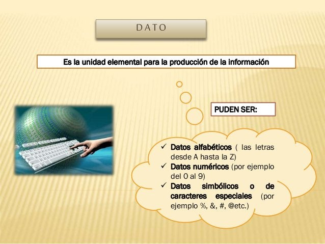 DATO Es la unidad elemental para la producción de la información  PUDEN SER:   Datos alfabéticos ( las letras desde A has...
