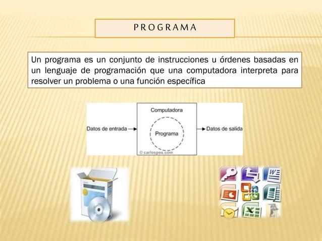 PROGRAMA Un programa es un conjunto de instrucciones u órdenes basadas en un lenguaje de programación que una computadora ...