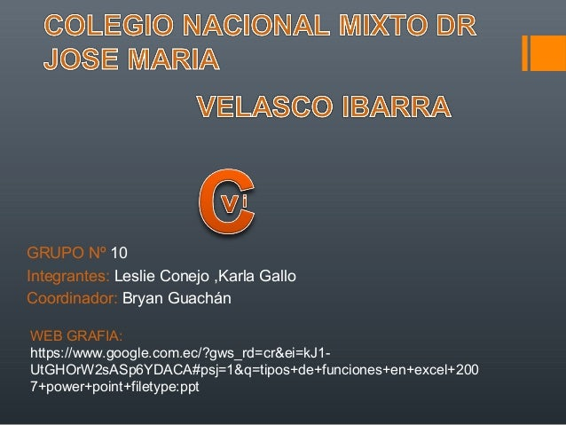 GRUPO Nº 10 Integrantes: Leslie Conejo ,Karla Gallo Coordinador: Bryan Guachán WEB GRAFIA: https://www.google.com.ec/?gws_...