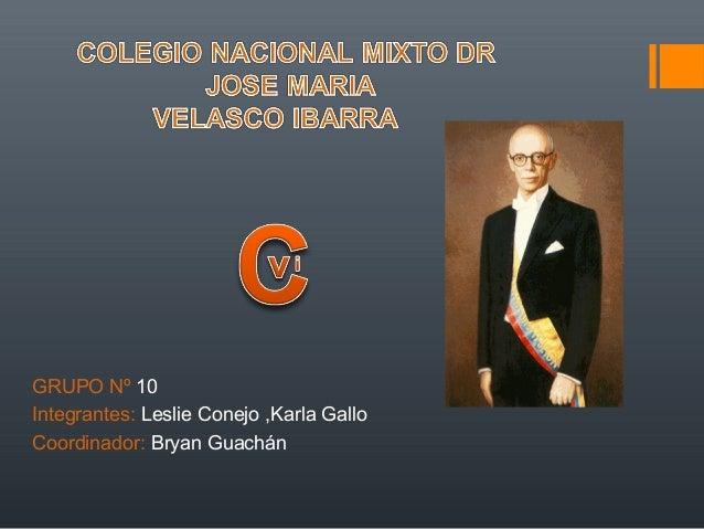 GRUPO Nº 10 Integrantes: Leslie Conejo ,Karla Gallo Coordinador: Bryan Guachán