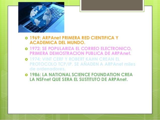  1969: ARPAnet PRIMERA RED CIENTIFICA Y ACADEMICA DEL MUNDO.  1972: SE POPULARIZA EL CORREO ELECTRONICO, PRIMERA DEMOSTR...