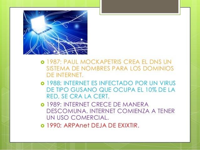 1987: PAUL MOCKAPETRIS CREA EL DNS UN SISTEMA DE NOMBRES PARA LOS DOMINIOS DE INTERNET.  1988: INTERNET ES INFECTADO PO...