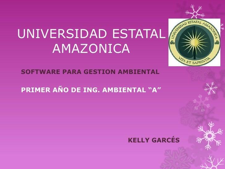 """UNIVERSIDAD ESTATAL    AMAZONICASOFTWARE PARA GESTION AMBIENTALPRIMER AÑO DE ING. AMBIENTAL """"A""""                        KEL..."""