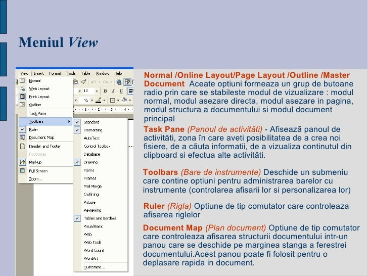 Meniul   View Normal /Online Layout/Page Layout /Outline /Master Document   Aceate optiuni formeaza un grup de butoane rad...