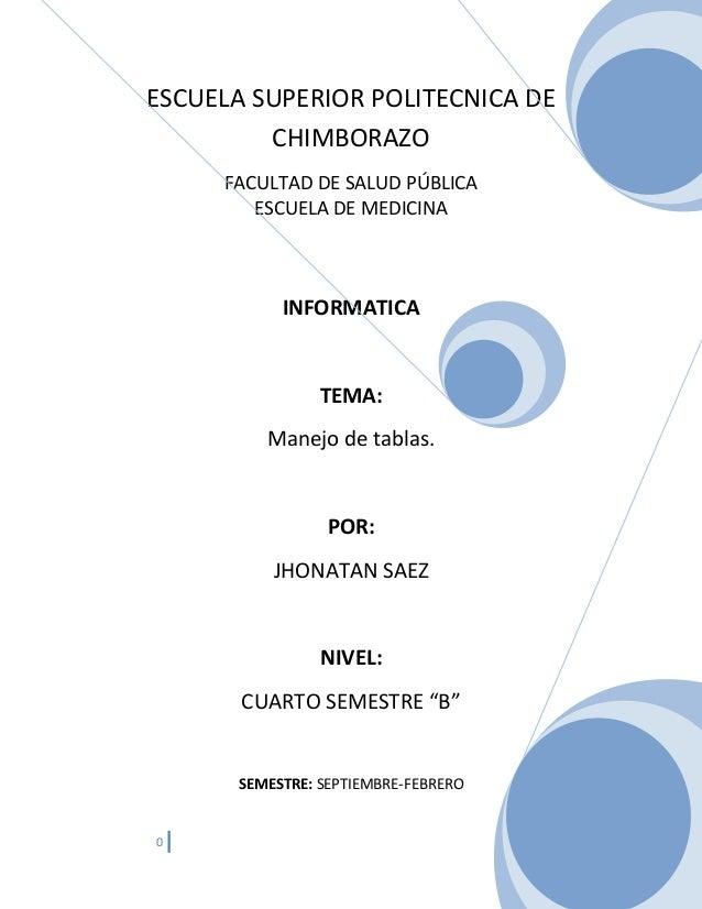 ESCUELA SUPERIOR POLITECNICA DE CHIMBORAZO FACULTAD DE SALUD PÚBLICA ESCUELA DE MEDICINA  INFORMATICA  TEMA: Manejo de tab...
