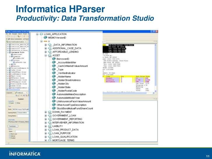 Informatica HParserProductivity: Data Transformation Studio                                           11