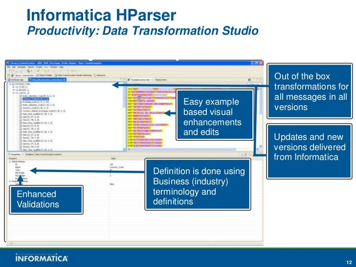 Informatica HParser    Productivity: Data Transformation StudioFinancial            Insurance           B2B Standards     ...