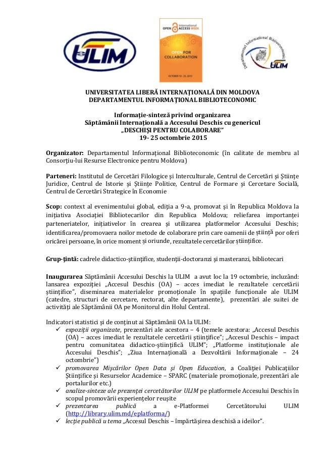UNIVERSITATEA LIBERĂ INTERNAŢIONALĂ DIN MOLDOVA DEPARTAMENTUL INFORMAŢIONAL BIBLIOTECONOMIC Informaţie-sinteză privind org...