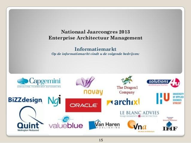 Nationaal Jaarcongres 2013Enterprise Architectuur ManagementInformatiemarktOp de informatiemarkt vindt u de volgende bedri...