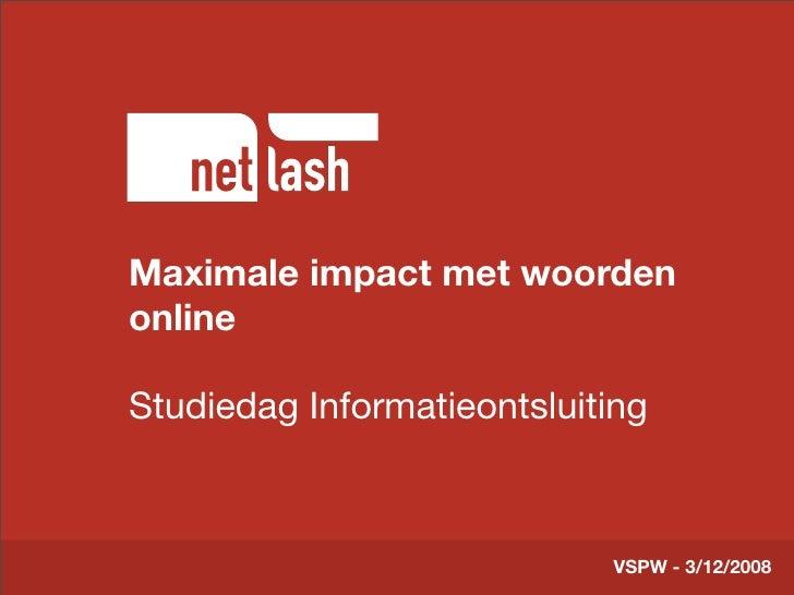 Maximale impact met woorden        Titel tekst online        Beschrijving slide  Studiedag Informatieontsluiting          ...