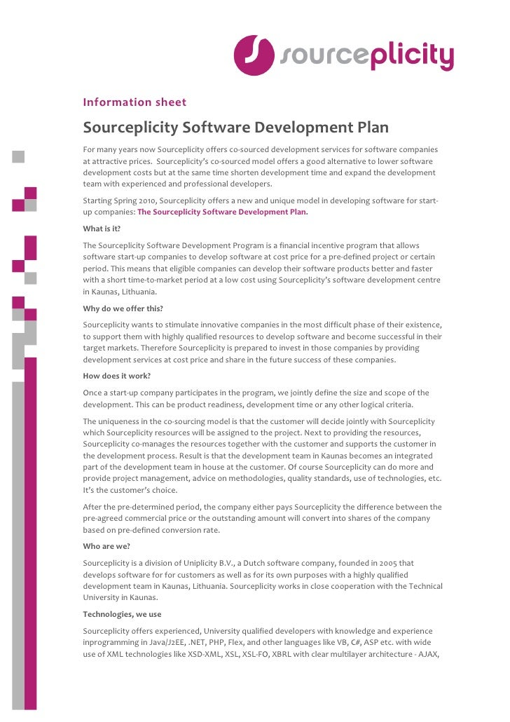 Information sheet   Sourceplicity Software Development Plan  For