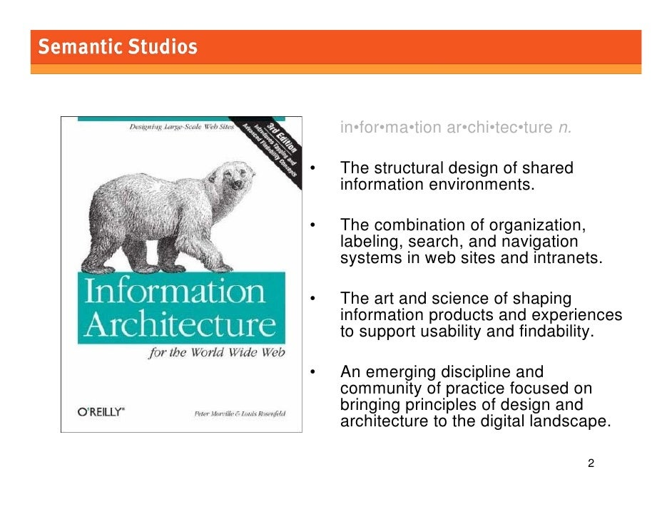 morville@semanticstudios.com         in•for•ma•tion ar•chi•tec•ture n.  •   The structural design of shared     informatio...