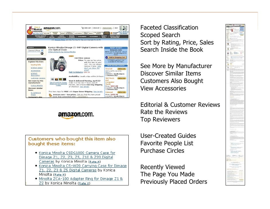 morville@semanticstudios.com Faceted Classification Scoped Search Sort by Rating, Price, Sales Search Inside the Book  See...