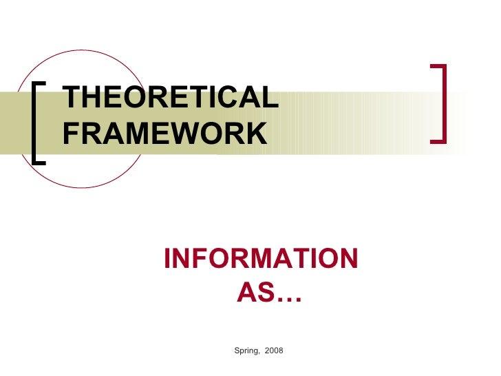 THEORETICAL FRAMEWORK <ul><ul><ul><ul><ul><li>INFORMATION   AS… </li></ul></ul></ul></ul></ul>