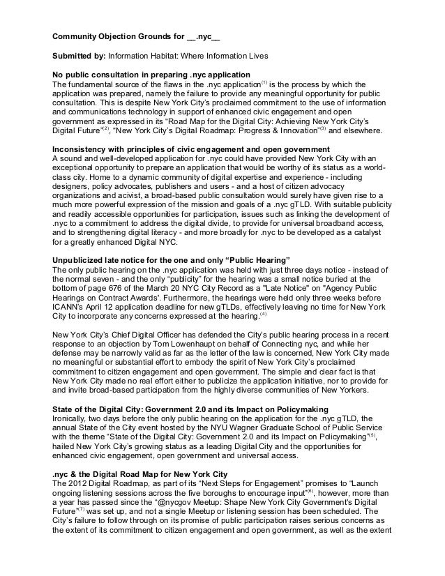 Community Objection Grounds for __.nyc__ Submitted by: Information Habitat: Where Information Lives No public consultation...
