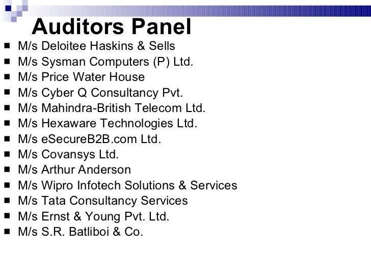 Auditors Panel  <ul><li>M/s Deloitee Haskins & Sells </li></ul><ul><li>M/s Sysman Computers (P) Ltd. </li></ul><ul><li>M/s...
