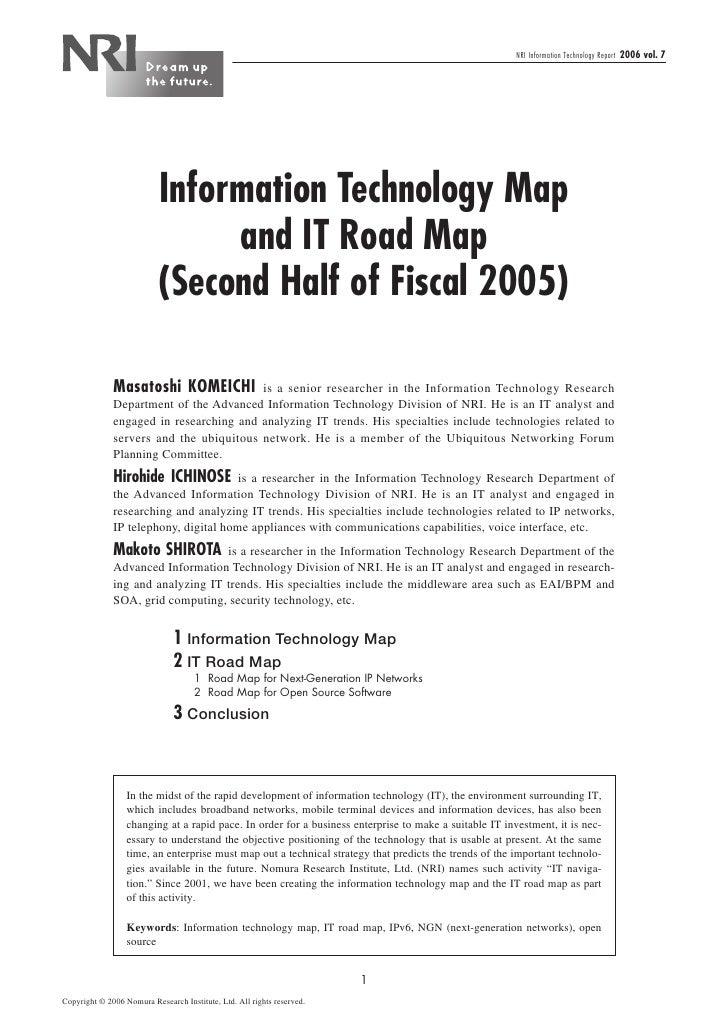 NRI Information Technology Report   2006 vol. 7                                Information Technology Map                 ...