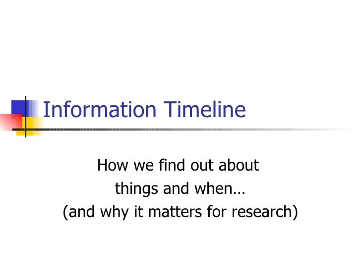 Information Timeline How we find out about  things and when… (and why it matters for research)