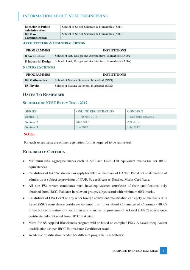 Information about Admission in NUST Engineering_2016