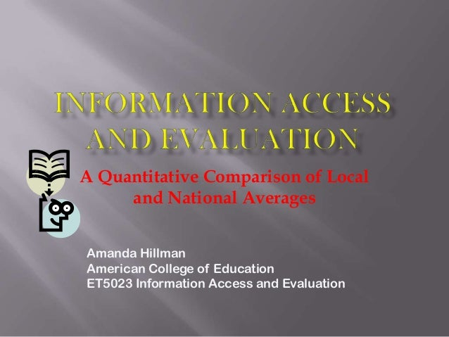 A Quantitative Comparison of Local and National Averages Amanda Hillman American College of Education ET5023 Information A...