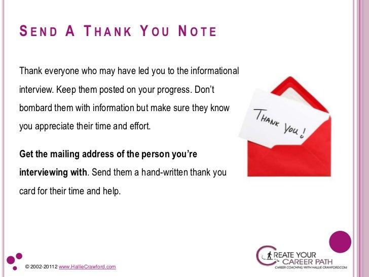 HallieCrawford.com; 10. SEND A THANK YOU ...  Thank You Informational Interview
