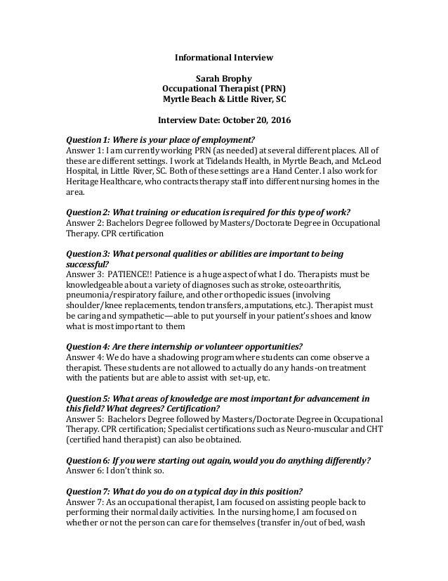 Informational Interview Sarah Brophy Occupational Therapist (PRN) Myrtle  Beach U0026 Little River, ...