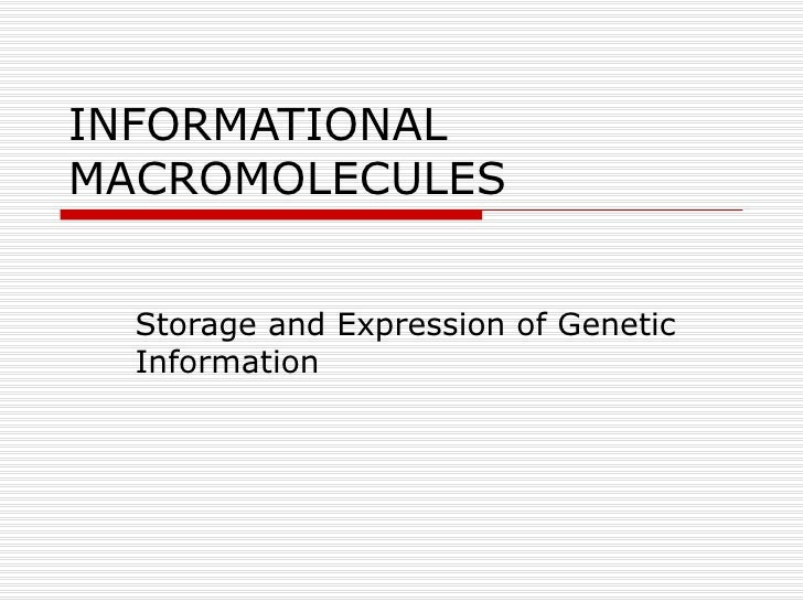 INFORMATIONAL MACROMOLECULES Storage and Expression of Genetic Information