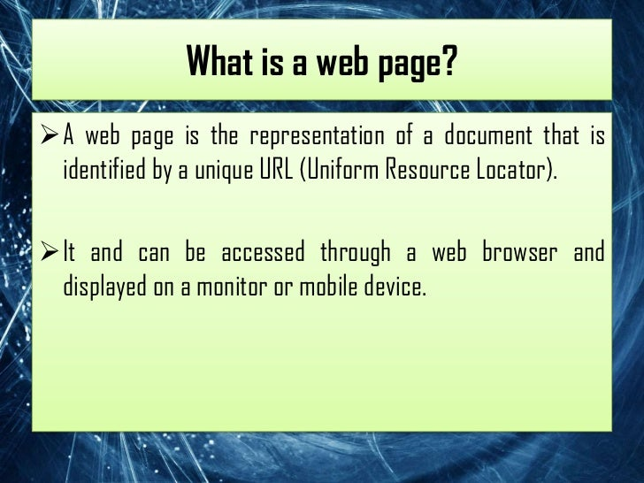 Informational web pages for It web page