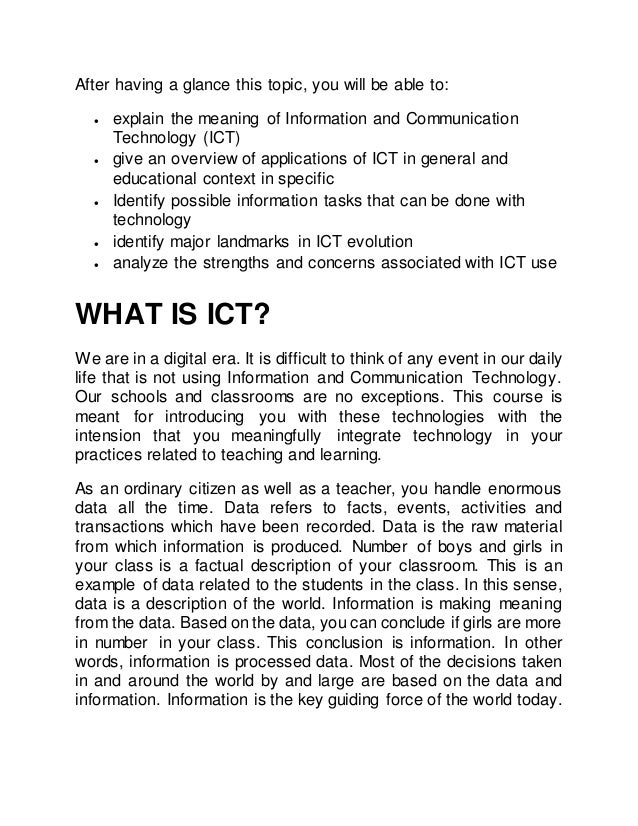 advantages of information and communication technology