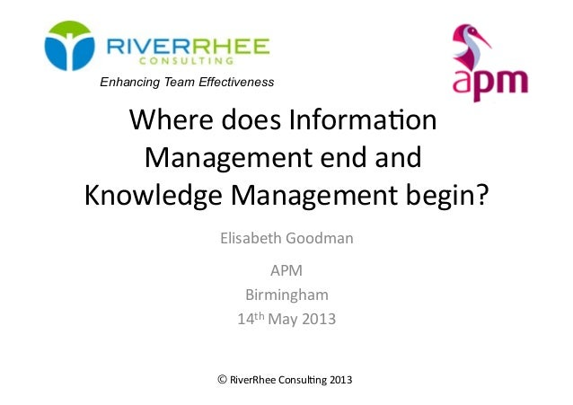 © RiverRhee	  Consul.ng	  2013	  Where	  does	  Informa.on	  Management	  end	  and	  Knowledge	  Management	  begin?	  El...