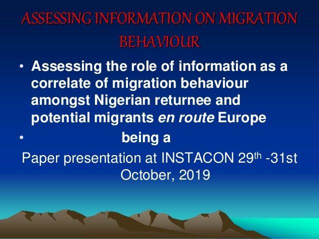 Assessing Information on Migration Behaviour Slide 2