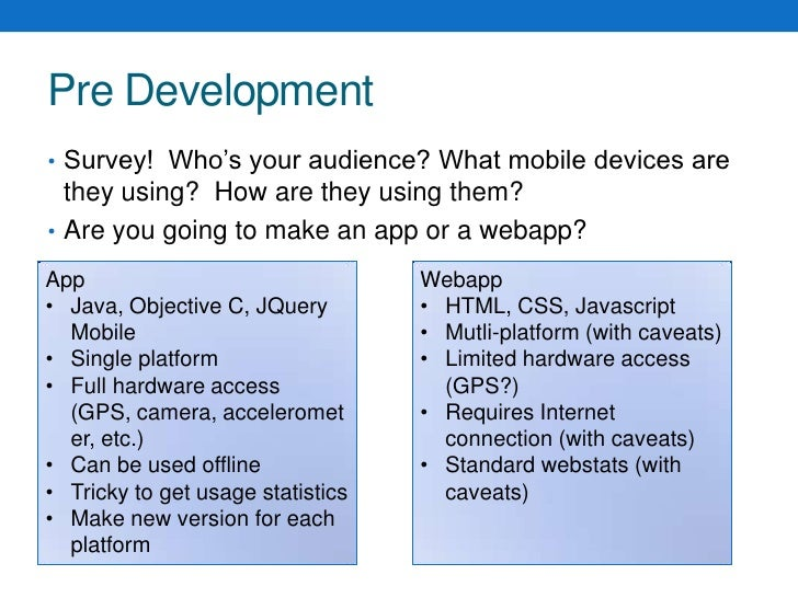 Pre Development<br />Survey!  Who's your audience? What mobile devices are they using?  How are they using them?<br />Are ...