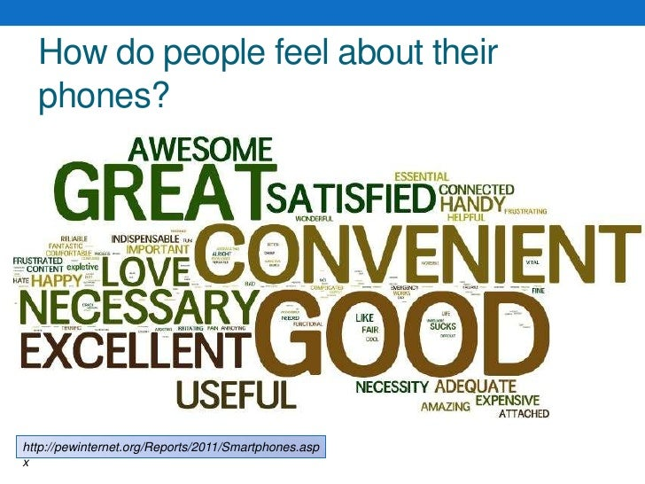 How do people feel about their phones?<br />http://pewinternet.org/Reports/2011/Smartphones.aspx<br />