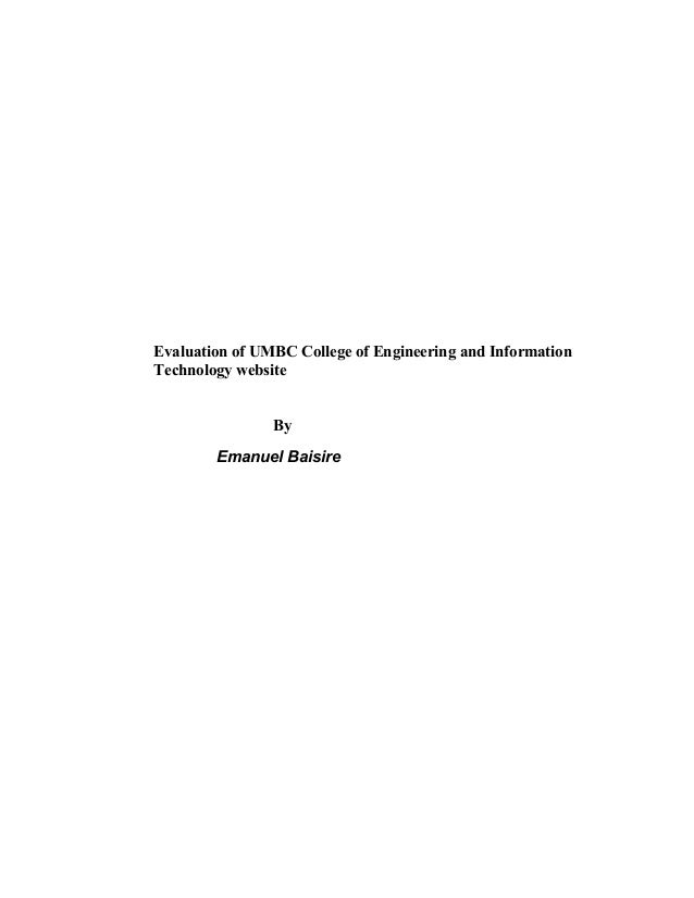 Evaluation of UMBC College of Engineering and Information Technology website By Emanuel Baisire