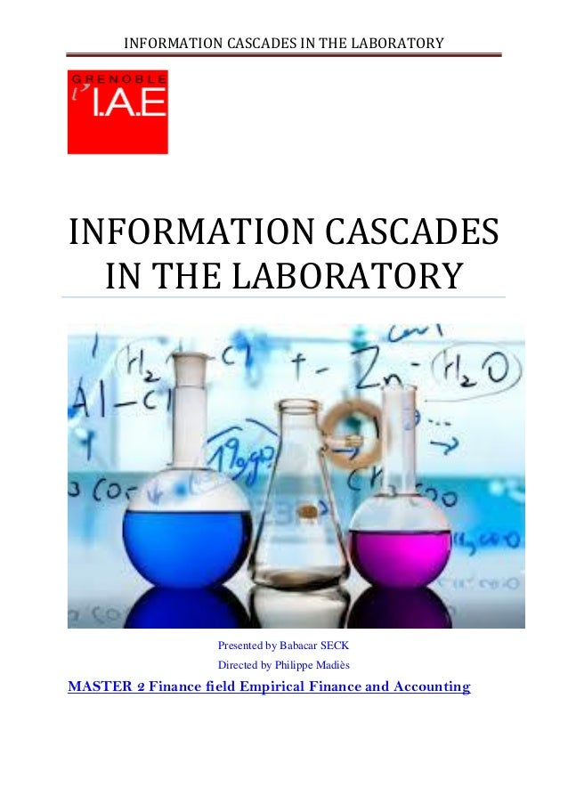 INFORMATION CASCADES IN THE LABORATORYINFORMATION CASCADESIN THE LABORATORYPresented by Babacar SECKDirected by Philippe M...