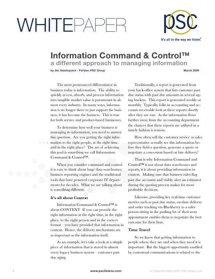 WHITEPAPER         Information Command & Control™         a different approach to managing information         by Jim Vase...