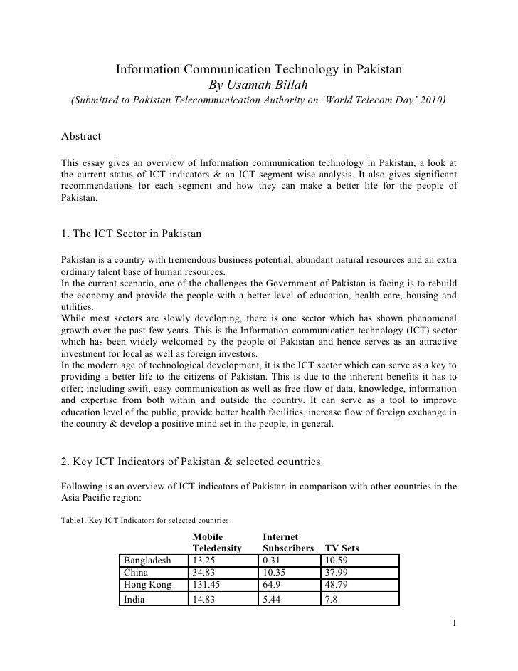 Information Communication Technology in Pakistan                              By Usamah Billah  (Submitted to Pakistan Tel...