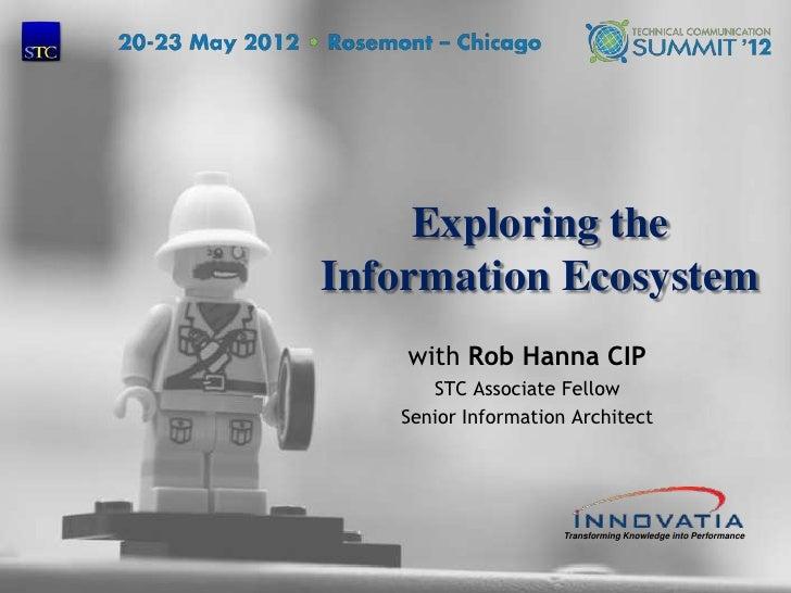 Exploring the    Information Ecosystem        with Rob Hanna CIP          STC Associate Fellow       Senior Information Ar...