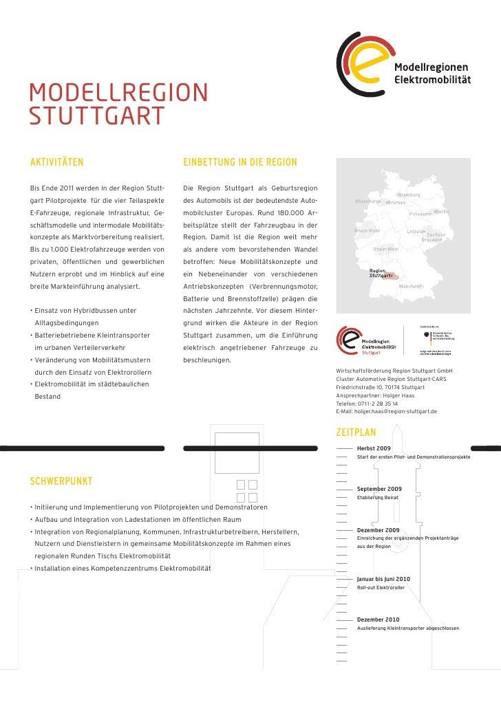 MODELLREGIONSTUTTGARTAKTIVITÄTEN                                   EINBETTUNG IN DIE REGIONBis Ende 2011 werden in der Reg...