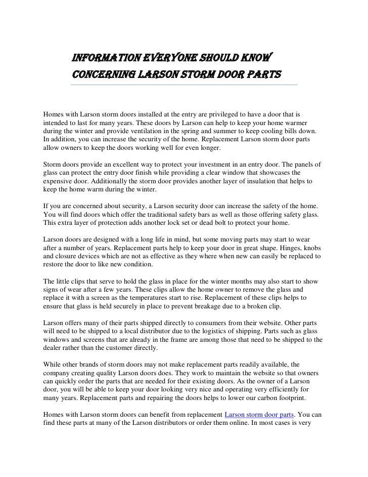 Information Everyone Should Know Concerning Larson Storm Door Parts