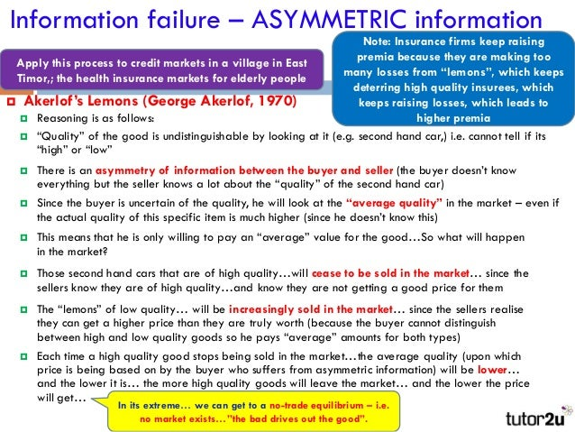 asymmetrical information Imperfect information is a situation in which the parties to a transaction have   another common example of asymmetric information occurs in the labor market.